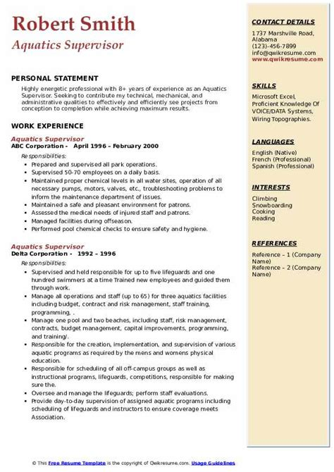 Writing a professional resume is a very important step in your job hunt. Aquatics Supervisor Resume Samples | QwikResume