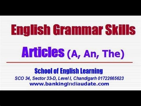English Grammar Articles (a, An, The) With Examples  Part 1 Youtube