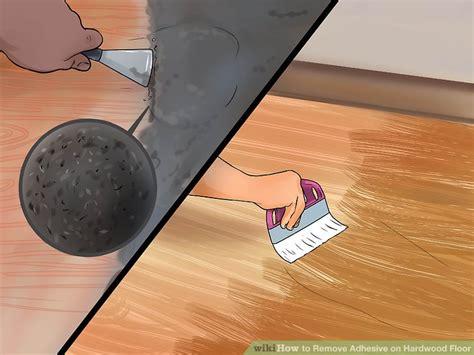 remove adhesive  hardwood floor  pictures