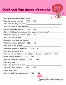 free printable what was the bride wearing game With what is a wedding shower for