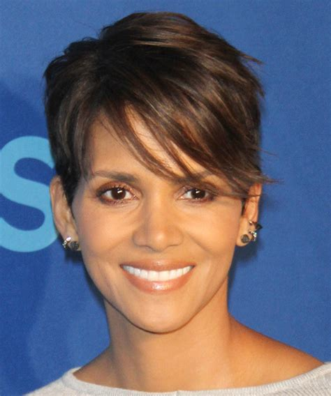 halle berry layered brunette pixie cut  side swept bangs