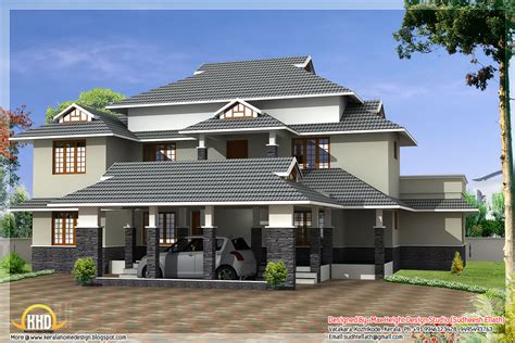 4 different style India house elevations - Kerala home