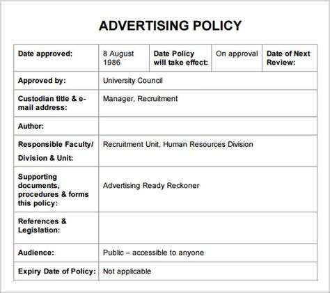 policy  procedure templates pdfdoc