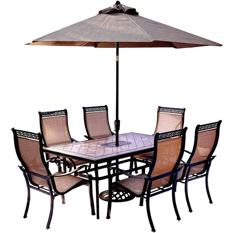 Umbrella And Table Set by Monaco 7 Dining Set With 9 Ft Table Umbrella And