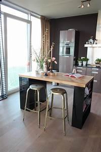 Fabriquer Une Table De Cuisine Avec Un Plan De Travail : 1001 id es pour une implantation avec un lot central de cuisine au coeur de l 39 espace ~ Nature-et-papiers.com Idées de Décoration