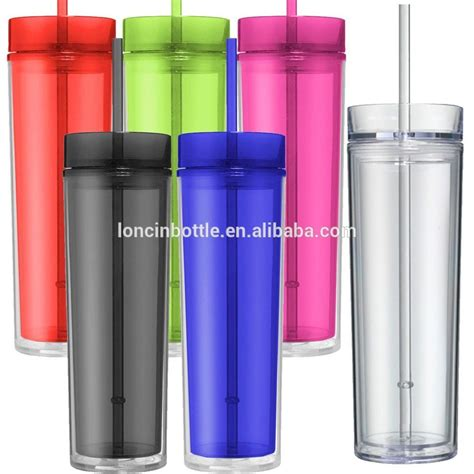 Hot&cold Skinny Tumbler 16oz Plastic Water Bottle,Skinny Acrylic Tumbler Double Wall 16 Oz