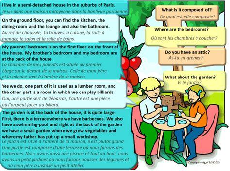 lexique cuisine anglais dialogue bilingue décrire sa maison anglais