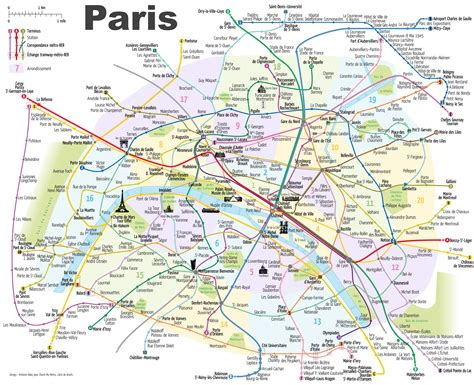 paris metro map  main tourist attractions