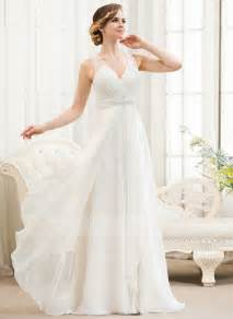 a line wedding dresses a line princess v neck sweep chiffon wedding dress with beading sequins cascading ruffles
