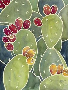 Big Box Graph Paper Prickly Pear Cactus Watercolor Painting Notecards And