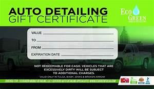 gift certificates ecogreen mobile detailing With auto detailing gift certificate template
