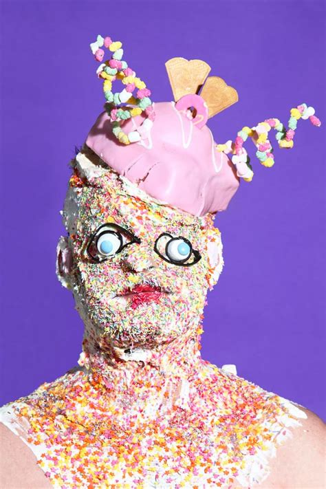 grotesque portraits  people wearing  junk food face