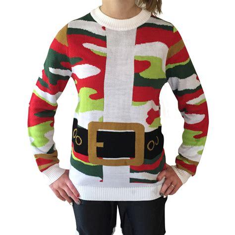santa suit christmas camo ugly christmas sweater ugly