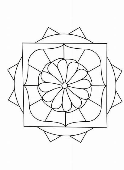 Mandala Simple Mandalas Coloring Pages Patterns Geometric
