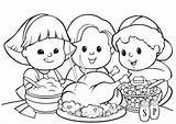 Thanksgiving Dinner Coloring Turkey Print sketch template