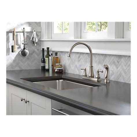 21902lf ss two handle kitchen faucet with spray