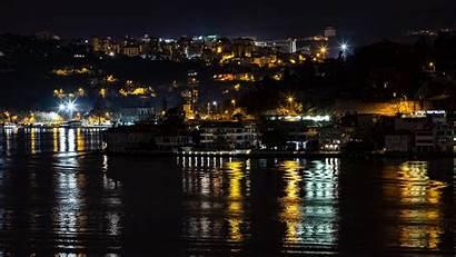 Lights Night Istanbul Coast Turkey Widescreen Reflection