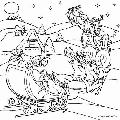 Santa Coloring Pages Sleigh Printable Horse Cool2bkids
