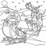 Santa Coloring Sleigh Pages Printable Cool2bkids Horse Getcolorings sketch template