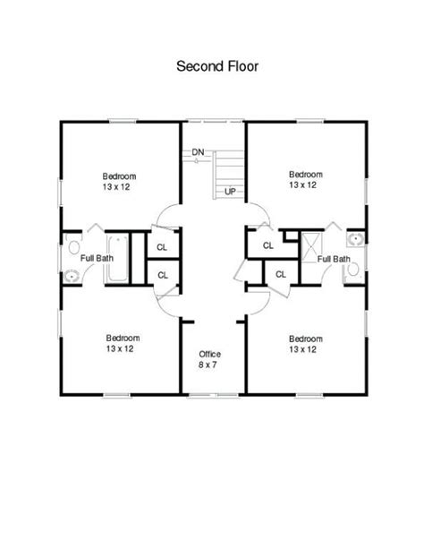 american  square house plans attached       story square house