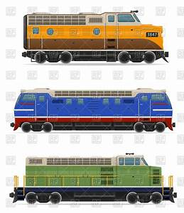 Diesel and electric locomotives - train side view Vector ...