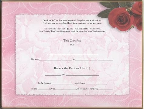 Blank Adoption Certificate Template by Blank Birth Certificates
