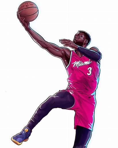 Wade Dwyane Miami Illustration Nba Vice Behance