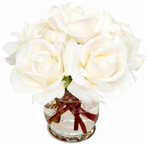 White Roses Traditional Artificial Flowers Plants And