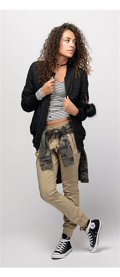 Outfits 1 Striped Tee and Khaki Joggers with Black Bomber Jacket | Zumiez