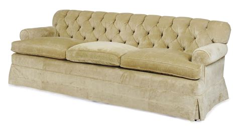 A Pair Of Button-tufted Beige Velvet-upholstered Three