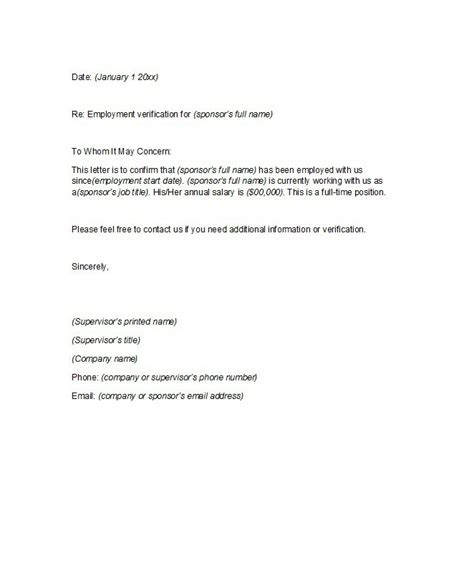 letter for employment 40 proof of employment letters verification forms sles