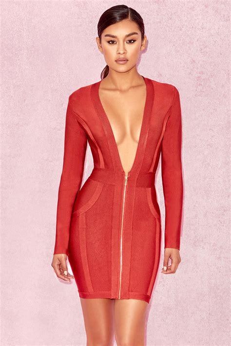Dress Valerie clothing bandage dresses valeria burnt orange v