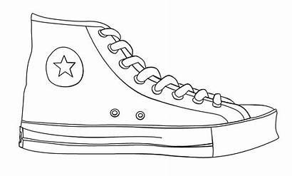 Clipart Shoe Converse Drawing Line Contour Templates