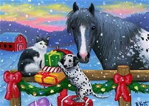 Cat dalmatian dog appaloosa horse Christmas ts farm
