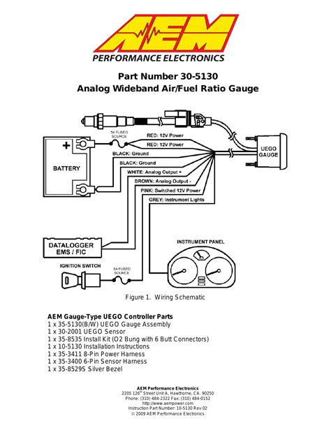 aem 30 5130 analog wideband uego gasoline afr user manual 8 pages