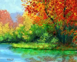 Autumn Trees Painting by Eileen Blair