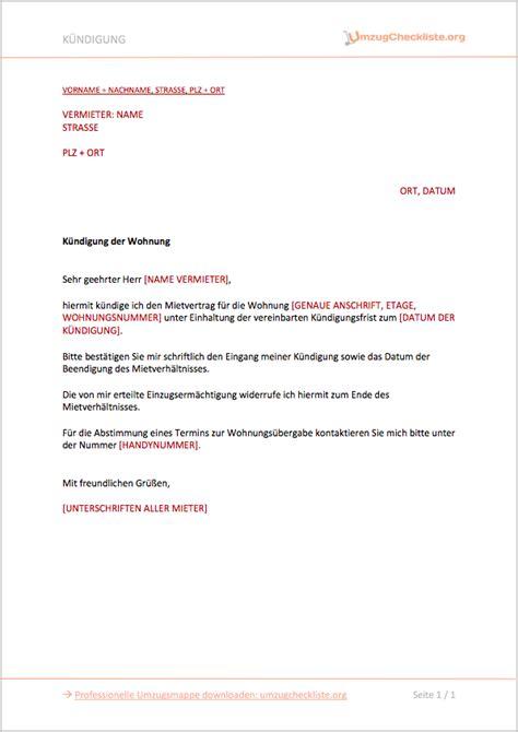 kündigung schreiben wohnung k 252 ndigung mietvertrag ᐅ vorlage 2019 umzugcheckliste org