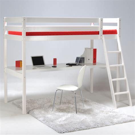 delamaison bureau lit mezzanine 90x190cm bureau sommier en bois colorado