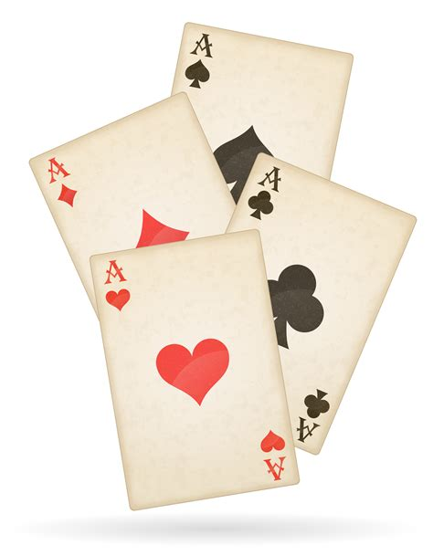 playing cards aces   suits  retro vector