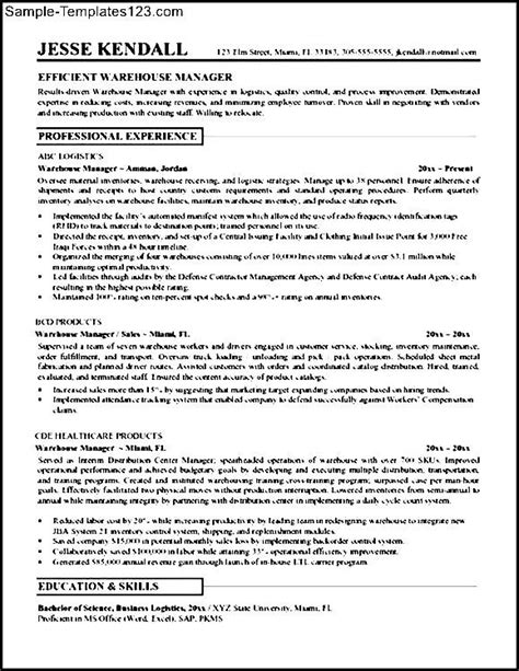 resume skills for warehouse worker sle templates