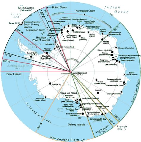 map  antarctica showing locations   bases