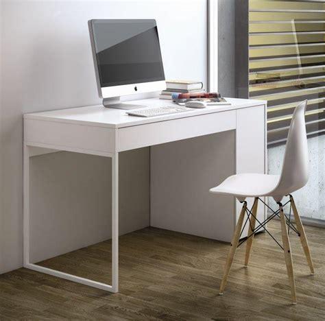bureau laqué temahome prado bureau blanc mat avec 1 tiroir et 1 caisson