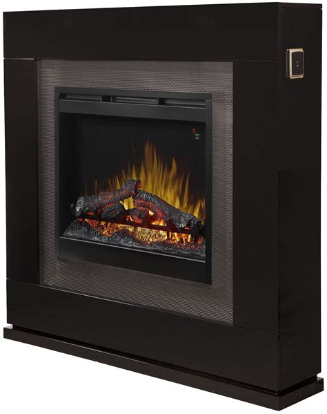 black gloss fireplace lukas gloss black mantel with inner glow logs electric