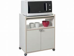 Meuble Cuisine Micro Onde : meuble micro ondes cumin coloris blanc tous les produits mobilier cuisine salle de bain ~ Teatrodelosmanantiales.com Idées de Décoration