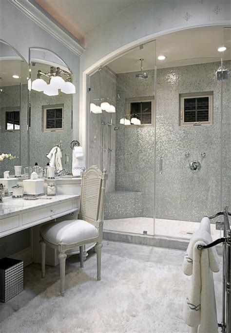 silver mosaic tile transitional bathroom knotting hill
