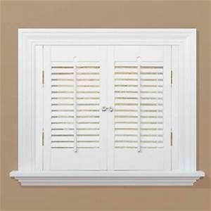 Homebasics traditional real wood snow interior shutter for Home depot window shutters interior