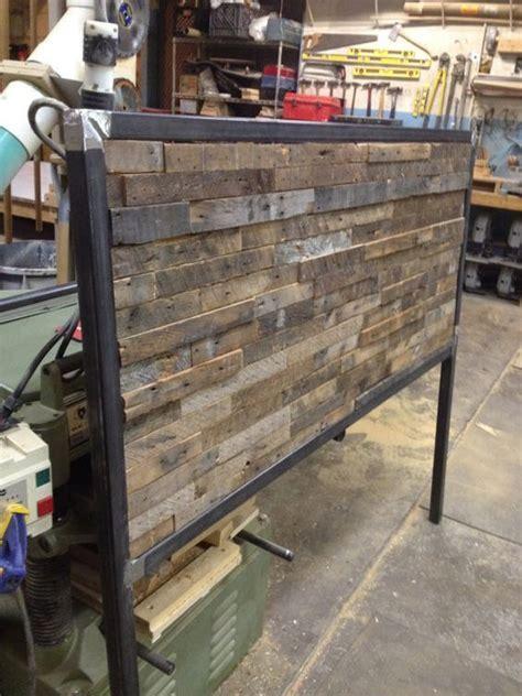 reclaimed wood  steel queen sized headboard reclaimed