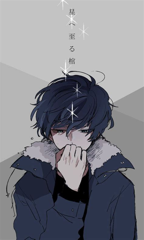 blue sad anime boy aesthetic viral and trend