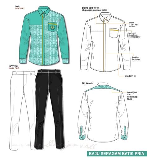 desain baju seragam kemeja pria shirts batik shirts technical drawing flat drawing
