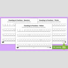 * New * Counting In Fractions Number Line Worksheets  Missing Fractions